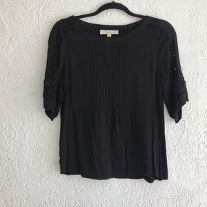 Loft Short Sleeve Peasant Blouse with Lace Detail